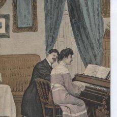 Postales: POSTAL ROMANTICA. PAREJA DE ENAMORADOS TOCANDO EL PIANO. Lote 117464159