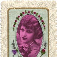 Postales: POSTAL TROQUELADA FRANCESA EDITION LA ROSE .- CON TELA BORDADA. Lote 118195515