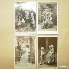Postales: 4 POSTALES DE PRINCIPIOS DE SIGLO XX. COLOREADAS. Lote 119128387