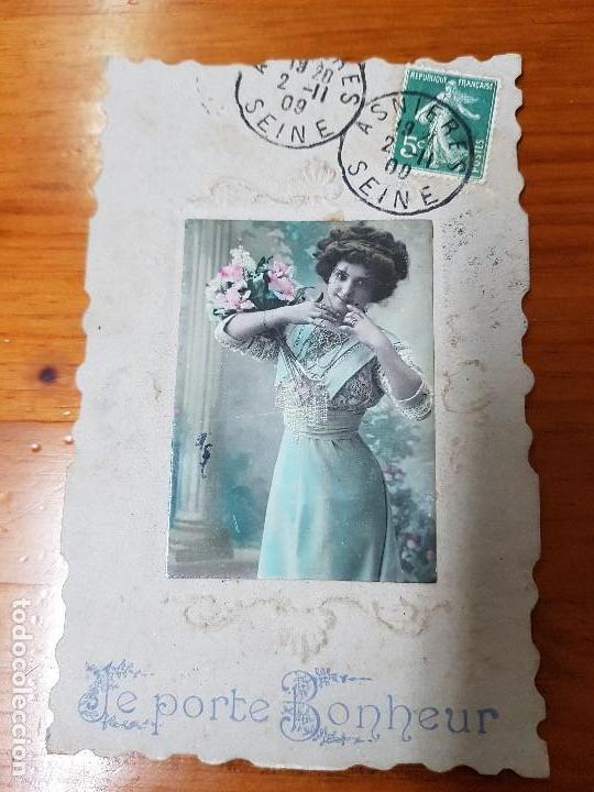 ANTIGUA POSTAL ROMANTICA TROQUELADA RELIEVE (Postales - Postales Temáticas - Galantes y Mujeres)