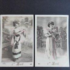 Postales: LOTE 2 POSTALES NOSTALGICAS 1ABRIL DE LOS AÑOS 1900 APX CIRCULADAS. Lote 122175823