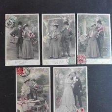Postales: LOTE SERIE 5 POSTALES NOSTALGICAS L DE LOS AÑOS 1900 APX CIRCULADAS. Lote 122176043