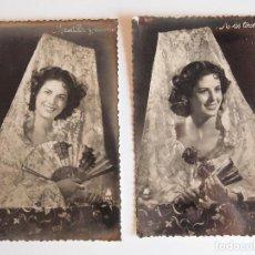 Postales: 2 POSTALES-FOTOGRAFÍAS: MANTILLA Y CLAVELES. A LOS TOROS. SIN CIRCULAR. Lote 123133891