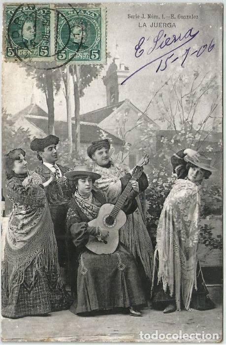 POSTAL ANTIGUA LA JUERGA ED. GONZALEZ SERIE J N° 1 HAUSER Y MENET SIN DIVIDIR 1906 (Postales - Postales Temáticas - Galantes y Mujeres)