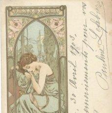 Postales: POSTAL MODERNISTA ILUSTR. POR ALPHONSE MUCHA. 1904.. Lote 125049547
