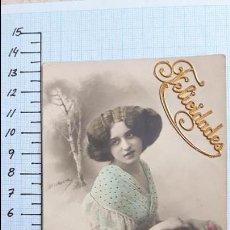 Postales: POSTAL JOVEN CON CESTO DE FLORES. 1913. MIRAFLORES DE LA SIERRA.. Lote 128130039