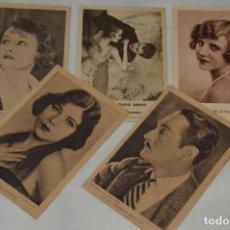 Postales: LOTE DE 5 POSTALES ANTIGUAS SIN CIRCULAR - ESTRELLAS DE CINE Y OTRAS - VINTAGE - ENVÍO 24H. Lote 133039138