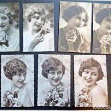 Postales: 7 POSTALES DE MUJERES, ORIGINALES DE ÉPOCA (NO SON REPRODUCCIONES).SIN CIRCULAR.VER FOTOS. Lote 136275226