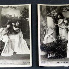 Postales: 2 POSTALES ARTISTA OBRA LE CULTE DU GUI MLLE SPINDLER MLLE ROBINNE H MANUEL PARÍS HACIA 1910 SIN CIR. Lote 137516178