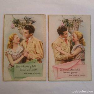 lote de 2 postales romanticas