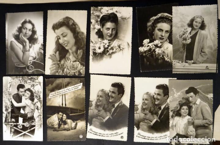 Postales: 45 antiguas postales de felicitación presentadas en una carpeta. Ver fotografías. - Foto 4 - 140505626