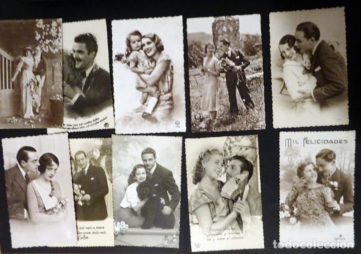 Postales: 45 antiguas postales de felicitación presentadas en una carpeta. Ver fotografías. - Foto 5 - 140505626