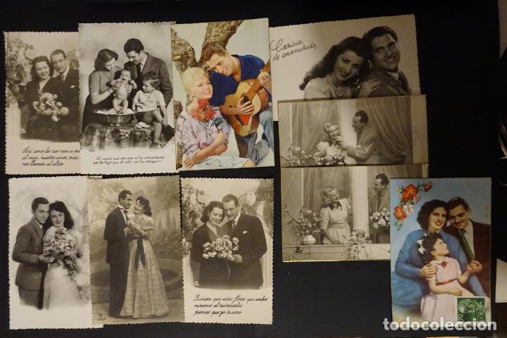 Postales: 45 antiguas postales de felicitación presentadas en una carpeta. Ver fotografías. - Foto 6 - 140505626