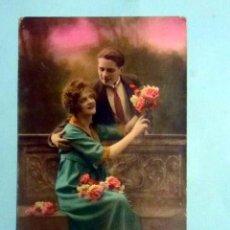 Postales: NOVIOS POSTAL COLOREADA P.C. PARIS 25 ESCRITA FECHADA 1924. Lote 140998822