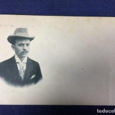 Postales: RETRATO DE CABALLERO CORBATA BIGOTE SOMBRERO PPIO S XX. Lote 142875614