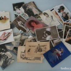Postales: LOTE 48 ANTIGUAS FOTOS POSTALES ILUSTRADAS CON ROSTROS DE DAMAS MUJERES – PRINCIPIOS SIGLO XX . Lote 143907162