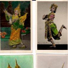 Postales: LOTE DE 14 POSTALES COLOREADAS DE BAILARINAS TAILANDESAS - AÑOS 1960. Lote 143987454