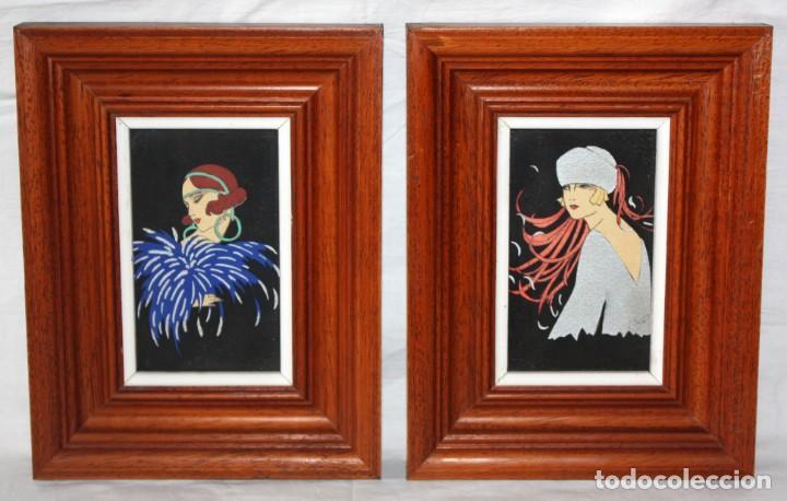 PAREJA DE POSTALES PINTADAS-ART-DECÓ-FIRMADAS-MUJERES. (Postales - Postales Temáticas - Galantes y Mujeres)