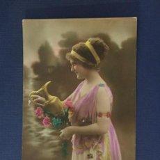 Postales: POSTAL ROMANTICA COLOREADA ED. PC PARIS 20. ESCRITA 1920.. Lote 144614362
