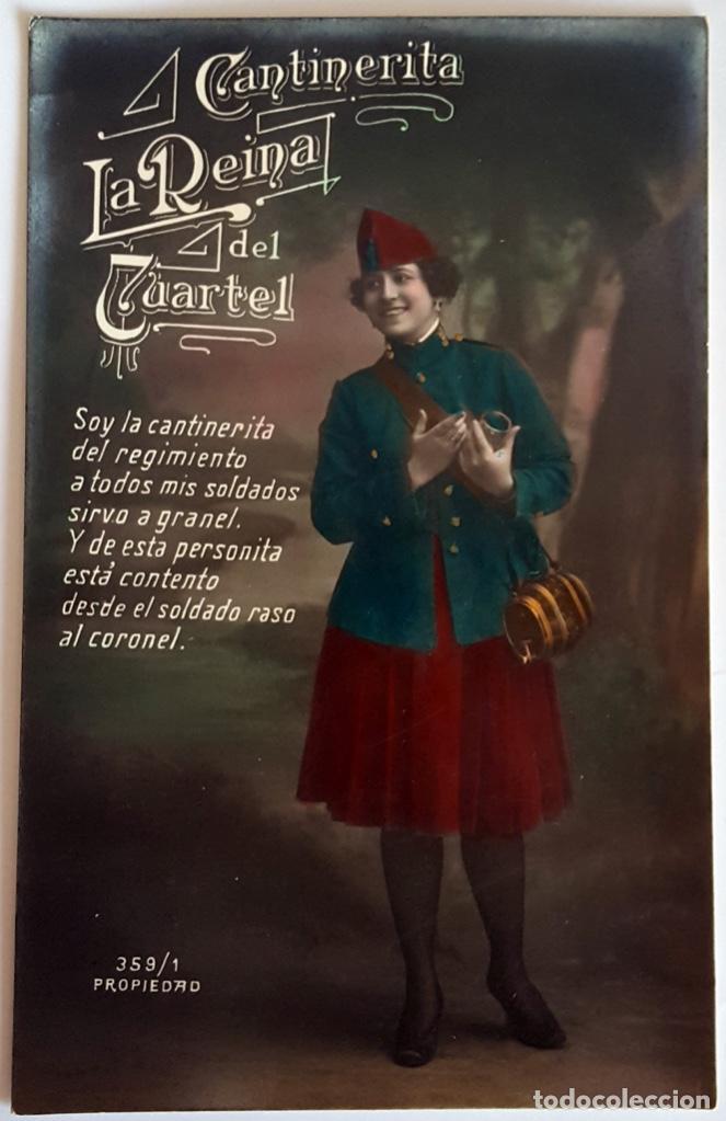 8 POSTALES ANTIGUAS (CIRCA 1919) CANTINERITA LA REINA DEL CUARTEL - CONSECUTIVAS: 1 A 8. SIN USO. (Postales - Postales Temáticas - Galantes y Mujeres)