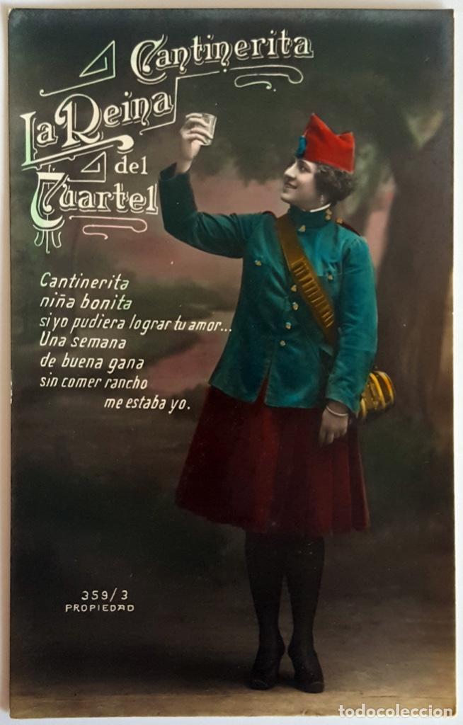 Postales: 8 POSTALES ANTIGUAS (Circa 1919) CANTINERITA LA REINA DEL CUARTEL - CONSECUTIVAS: 1 A 8. SIN USO. - Foto 3 - 146343126