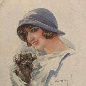 Postal. Mujer con perro.