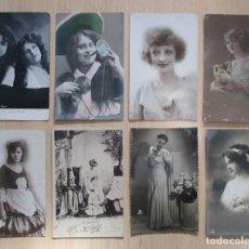 Postales: LOTE DE 8 TARJETAS POSTALES ANTIGUAS FEMENINAS. Lote 147039790