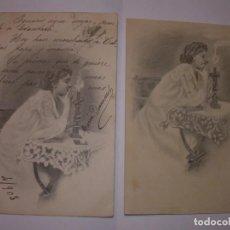 Postales: DOS POSTALES.UNA CON DIBUJO ORIGINAL (FIMADO) Y LUEGO LA POSTERIOR REPRODUCCION.. Lote 149616334