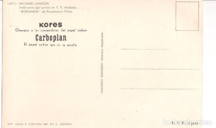 Postales: POSTAL DE MICHAEL LANDON. INTÉRPRETE DE LA SERIE BOMANZA. AÑO 1964 - Foto 2 - 150153466