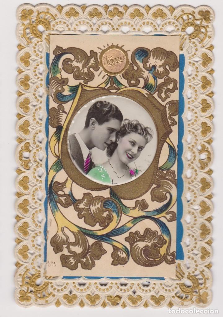 BONITA FELICITACIÓN ROMANTICA CALADA. POSTALES MÁRGARA .AÑOS 20 (Postales - Postales Temáticas - Galantes y Mujeres)