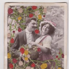 Postales: BONITA FELICITACIÓN ROMANTICA CON FLORES DE HILO INCRUSTADAS, ADOLFO FERNANDEZ. CARTAGENA.. Lote 150304690