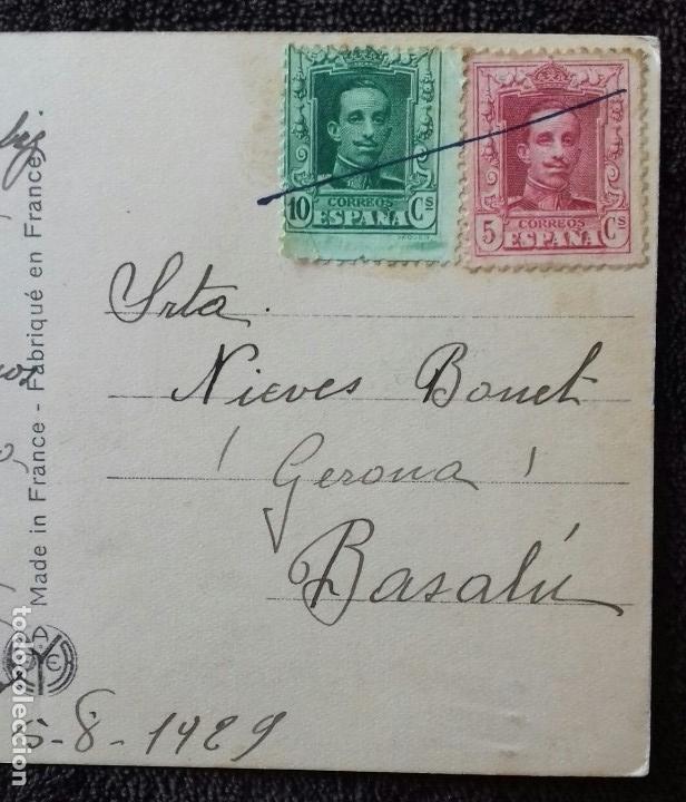 Postales: Antigua postal romantica. Pareja con caballo. Color rosa. Franqueada/ escrita. Gerona. Besalu.1929. - Foto 4 - 152053162