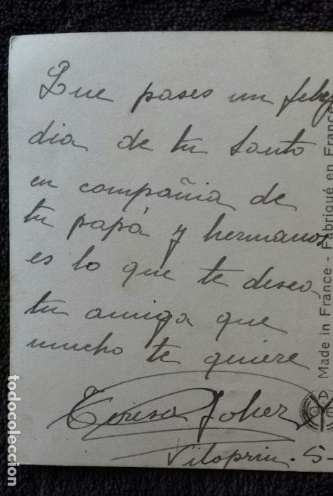 Postales: Antigua postal romantica. Pareja con caballo. Color rosa. Franqueada/ escrita. Gerona. Besalu.1929. - Foto 5 - 152053162