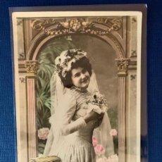 Postales: POSTAL COLOREADA DE NOVIA. ED. LUNA 2120. ESCRITA 1914.. Lote 153420458