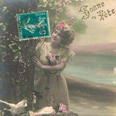 Postales: POATL ROMANTICA FRANCESA. EN EL JARDIN CON LAS PALOMAS. Lote 155647586