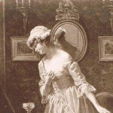Postales: POSTAL ROMANTICA FRANCESA: SALÓN DE PARIS, EL PUNTO DE ALENÇON. Lote 156198402