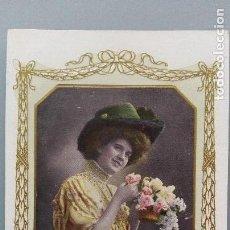 Postales: POSTAL FOTOGRAFICA COLOR ROMANTICA MUJER CON SOMBRERO CIRCUL A FRANCIA 1909 PERFECTA CONSERVACION. Lote 159619706