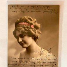 Postales: POSTAL ROMANTICA COLOREADA DE MUJER. EDITORIAL CROISSANT 296. ESCRITA.. Lote 159789834