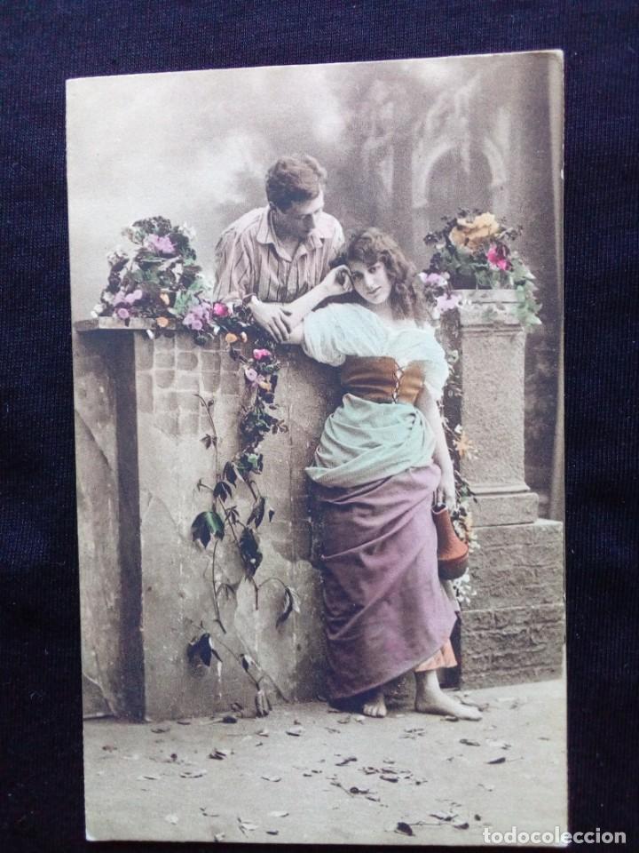 ANTIGUA POSTAL ROMÁNTICA CIRCULADA (Postales - Postales Temáticas - Galantes y Mujeres)