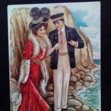 Postales: ANTIGUA POSTAL ROMÁNTICA CIRCULADA Y COLOREADA CON RELIEVES DORADOS. Lote 160995094