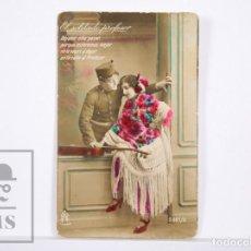 Postales: POSTAL FOTOGRÁFICA ROMÁNTICA - EL SOLDADO PROFESOR. DÉJAME NIÑA PASAR... - CIRCULADA. Lote 161364778