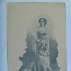 Postales: POSTAL DE ARTISTA CON MANTON DE MANILA. PRINCIPIOS SIGLO. CIRCULADA EN 1903, SELLO ALFONSO XIII NIÑO. Lote 161925970