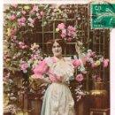 Postales: CON MIS MEJORES DESEOS, CIRCULADA EN 1910. Lote 167829724