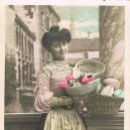 Postales: CHICA CON HUEVOS DE PASCUA, CIRCULADA EN 1907. Lote 167838480