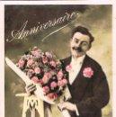 Postales: HOMBRE CON RAMO DE FLORES, CIRCULADA EN 1911. Lote 167838616