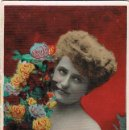Postales: MUJER CON FLORES, COLOREADA A MANO CIRCULADA 1909. Lote 167839104