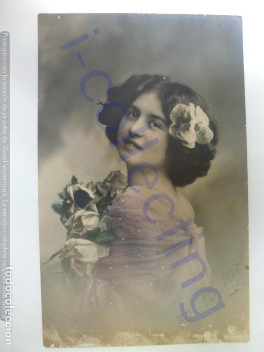 POSTAL ANTIGUA COLOREADA. ESCRITA EN 1910. (Postales - Postales Temáticas - Galantes y Mujeres)