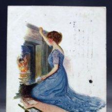 Postales: POSTAL INGLESA DIBUJADA ESCENA GALANTE CHIMENEA SHERIE SERIES 817 INTER ART CO CIRCULADA SELLO 1911. Lote 169417432