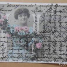 Postales: TARJETA POSTAL CIRCULADA EN 1903?-EUREUX ANNIVERSAIRE-DAMA CON FLORES-SELLO 10 CTS*ESCRITURA CRUZADA. Lote 171064677
