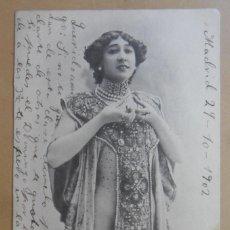 Postales: TARJETA POSTAL CIRCULADA ESCRITA EL 29 DE OCTUBRE DE 1902 - LA BELLA OTERO - SELLO DE 5 CTS. . Lote 171092684